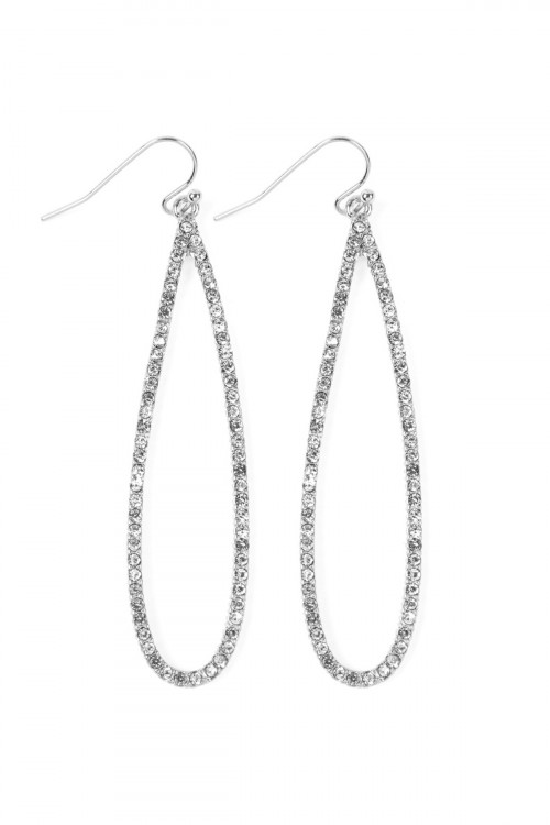 A2-3-4-AMYE1047RHCL SILVER CLEAR LONG TEARDROP RHINESTONE EARRINGS/6PAIRS