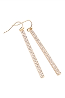 A2-3-4-AMYE1048GDCL GOLD CLEAR RHINESTONE BAR DROP EARRINGS/6PAIRS
