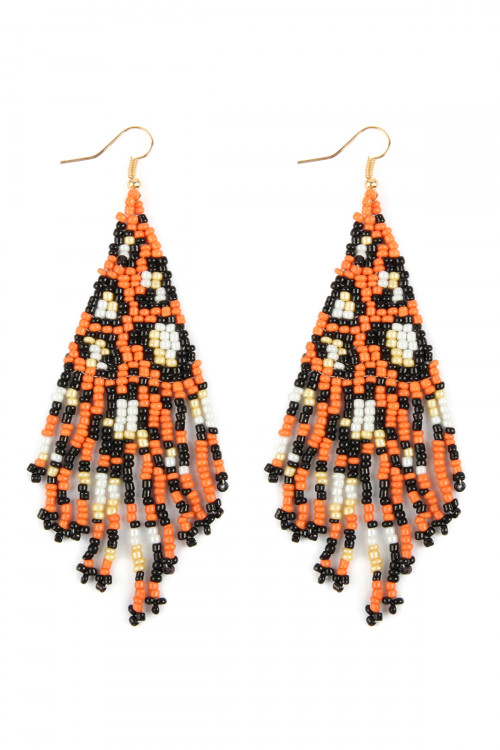 A2-2-4-AMYE1055OR ORANGE SEED BEADS DANGLE HOOK EARRINGS/6PAIRS