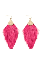 S3-4-3-MYE1056HPK -  THREAD TASSEL DROP EARRINGS - HOT PINK/6PCS