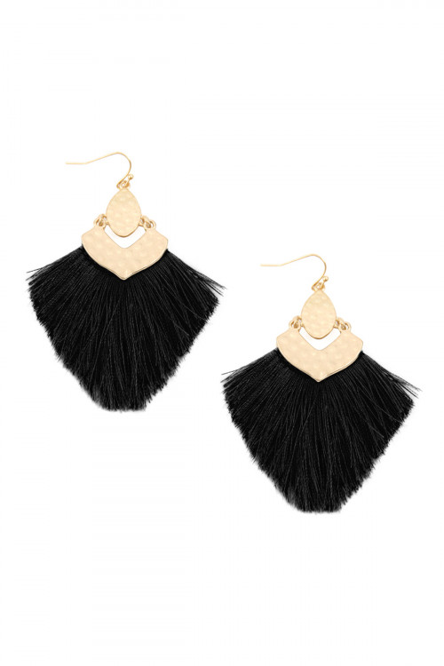 A3-3-3-AMYE1057BK BLACK FRINGE TASSEL DROP EARRINGS/6PAIRS