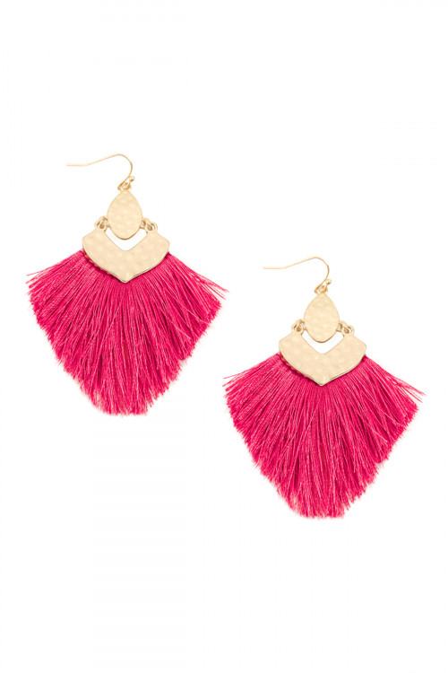 A3-3-3-AMYE1057HPK HOT PINK FRINGE TASSEL DROP EARRINGS/6PAIRS