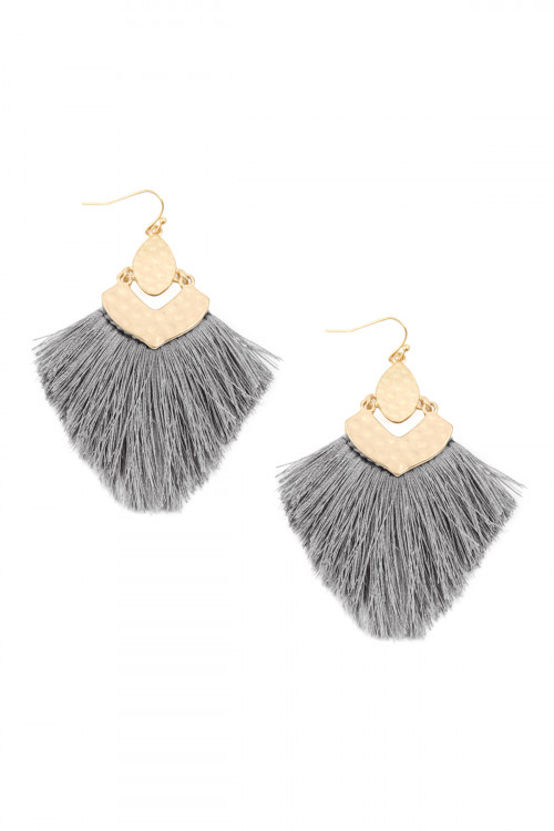 A3-3-3-AMYE1057LGY LIGHT GRAY FRINGE TASSEL DROP EARRINGS/6PAIRS