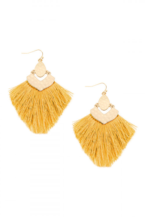 A3-3-3-AMYE1057MU MUSTARD FRINGE TASSEL DROP EARRINGS/6PAIRS