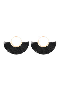 SA3-3-2-AMYE1058BK BLACK FAN TASSEL HOOP EARRINGS/6PAIRS