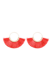 SA3-3-2-AMYE1058COR CORAL FAN TASSEL HOOP EARRINGS/6PAIRS