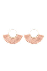 SA3-2-3-AMYE1058DPK DUSTY PINK FAN TASSEL HOOP EARRINGS/6PAIRS
