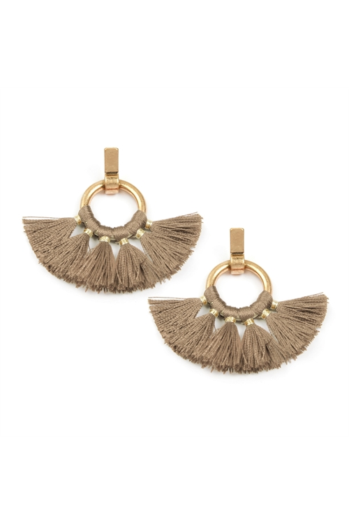 A2-1-2-AMYE1060LBR LIGHT BROWN FAN TASSEL POST WRAP HOOP DANGLE EARRINGS/6PAIRS