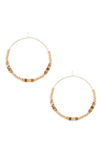 SA3-2-3-AMYE1062LCT BROWN NATURAL STONE BEADS WITH METAL BEAD SPACER HOOP EARRINGS/6PAIRS