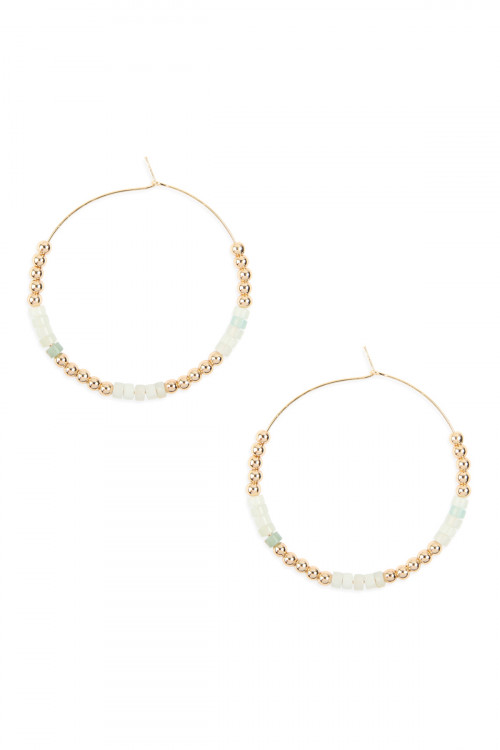 A2-3-4-AMYE1062POM AMAZONITE NATURAL STONE BEADS WITH METAL BEAD SPACER HOOP EARRINGS/6PAIRS