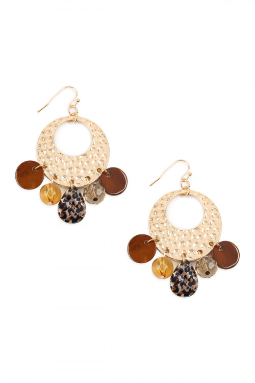 A3-3-3-AMYE1068 HAMMERED METAL WITH DANGLE ACETATE EARRINGS/6PAIRS