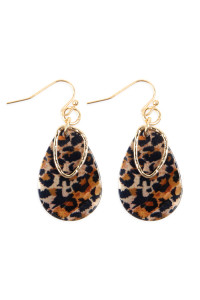 A3-2-3-AMYE1072 PEAR SHAPE LEOPARD PRINTED ACETATE EARRINGS/6PAIRS