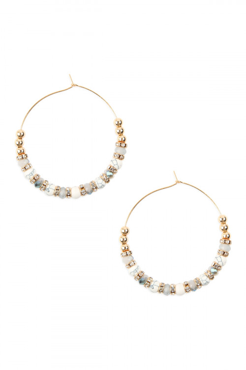 A2-2-3-AMYE1083WH WHITE MIXED BEADED HOOP EARRINGS/6PAIRS