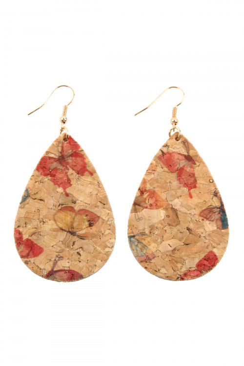 A3-2-2-AMYE1084LBL LIGHT BLUE BUTTERFLY PRINT CORK TEARDROP EARRINGS/6PAIRS