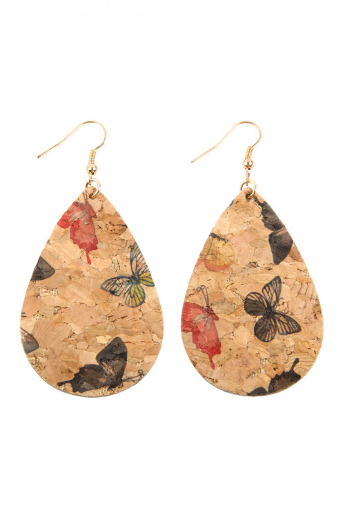 A2-2-4-AMYE1084NV NAVY BUTTERFLY PRINT CORK TEARDROP EARRINGS/6PAIRS