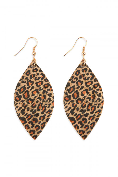 A2-2-4-AMYE1096 LEOPARD MARQUISE CORK DROP EARRINGS/6PAIRS