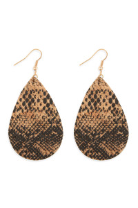 A3-2-2-AMYE1100SN-1 STYLE 1 SNAKE SKIN TEARDROP CORK EARRINGS/6PAIRS