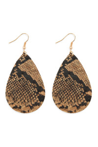 S4-6-3-AMYE1100SN-2 STYLE 2 SNAKE SKIN TEARDROP CORK EARRINGS/6PAIRS