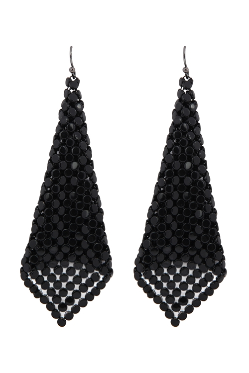 A1-1-2-AMYE1103BK BLACK FLOPPY CONE SQUARE SHAPE DROP EARRINGS/6PAIRS