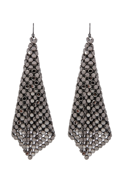 S25-7-2-MYE1103HE HEMATITE FLOPPY CONE SQUARE SHAPE DROP EARRINGS/6PAIRS