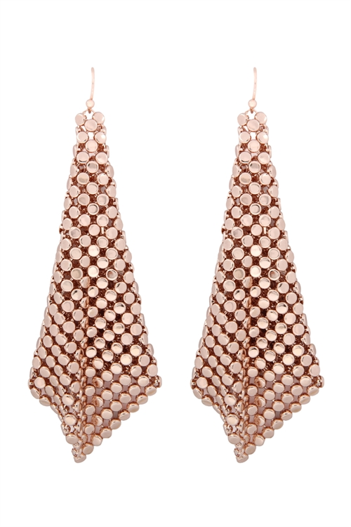 A1-1-3-AMYE1103RG ROSE GOLD FLOPPY CONE SQUARE SHAPE DROP EARRINGS/6PAIRS
