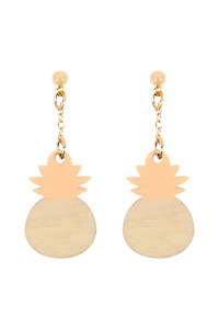 A2-2-4-AMYE1114PK PINK PINEAPPLE WOOD POST DANGLE EARRINGS/6PAIRS