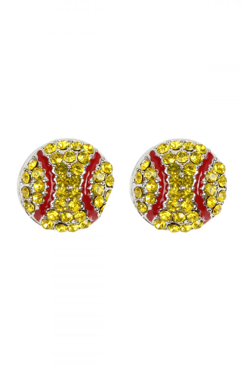 S21-3-4-MYE1116SF BASEBALL RHINESTONE POST EARRINGS/6PAIRS