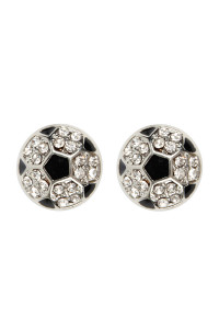 A3-2-1-AMYE1116SOC SOCCER BALL RHINESTONE POST EARRINGS/6PAIRS