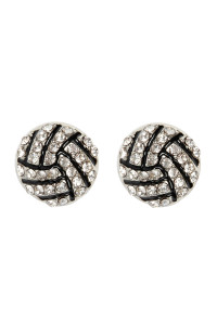 A3-2-1-AMYE1116VOL VOLLEYBALL RHINESTONE POST EARRINGS/6PAIRS