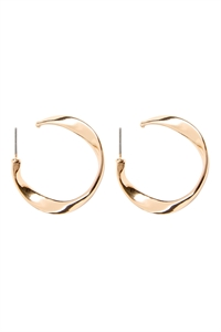 A2-1-3-AMYE1126GD GOLD TWIST POST HOOP EARRINGS/6PAIRS