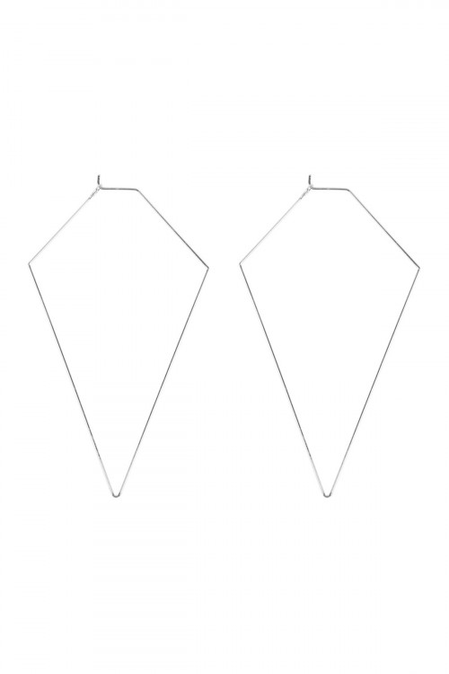 A2-3-3-MYE1127R SILVER DIAMOND SHAPE WIRED EARRINGS/6PAIRS