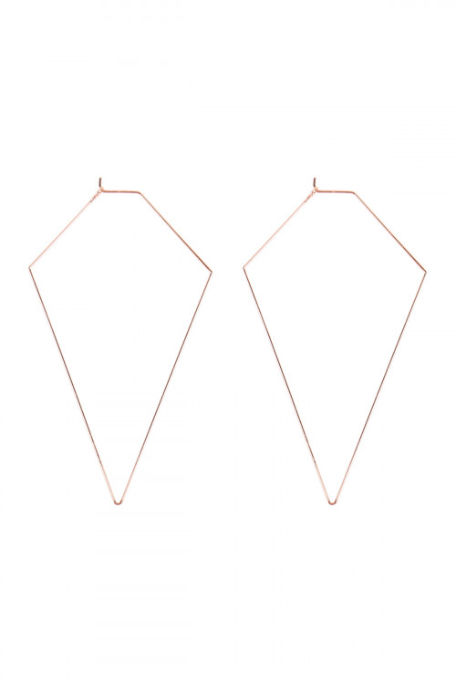 A2-3-3-MYE1127RG ROSE GOLD DIAMOND SHAPE WIRED EARRINGS/6PAIRS