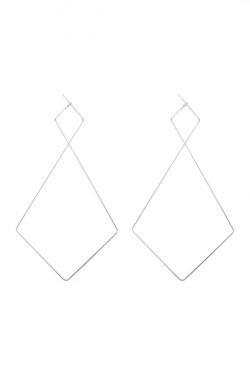 A2-3-1-AMYE1128R SILVER DIAMOND GEOMETRIC SHAPE WIRED EARRINGS/6PAIRS