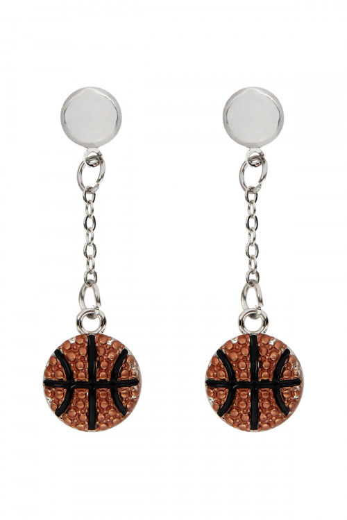 S21-3-4-AMYE1138BSK BASKETBALL SPORTS POST DROP EARRINGS /6PAIRS