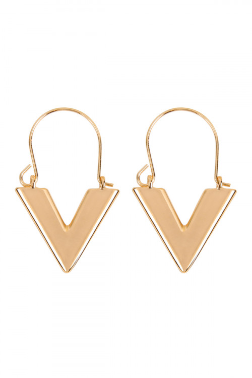 "A2-2-2-AMYE1139GD GOLD "" V "" LETTER HOOP EARRINGS/6PAIRS"