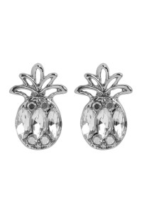 S6-6-3-AMYE1154RH SILVER PINEAPPLE RHINESTONE EARRINGS/6PAIRS