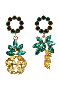 S6-6-3-AMYE1155 PINEAPPLE RHINESTONE TWO STYLE EARRINGS/6PAIRS
