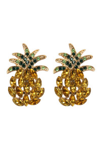 S7-5-2-AMYE1156 PINEAPPLE RHINESTONE POST EARRINGS/6PAIRS
