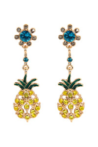 S6-6-3-AMYE1157 PINEAPPLE RHINESTONE DANGLE EARRINGS/6PAIRS