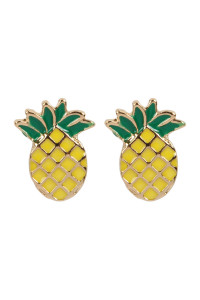 S6-6-1-AMYE1158 PINEAPPLE ACRYLIC POST EARRINGS/6PAIRS