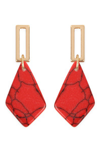 A2-2-2-AMYE1160CO CORAL DIAMOND SHAPE NATURAL STONE POST DROP EARRINGS/6PAIRS