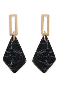 A2-2-2-AMYE1160JT JET BLACK DIAMOND SHAPE NATURAL STONE POST DROP EARRINGS/6PAIRS