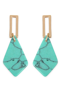 A2-2-2-AMYE1160TQ TURQUOISE DIAMOND SHAPE NATURAL STONE POST DROP EARRINGS/6PAIRS