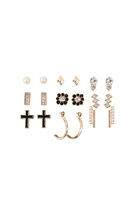 S22-6-2-MYE1162G - 9 PAIRS ASSORTED PEARL RHINESTONE DAINTY EARRINGS/6SETS