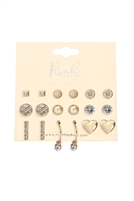 S22-6-1-MYE1167G - 9 PAIRS ASSORTED HEART ROUND DAINTY EARRINGS - GOLD/6PCS