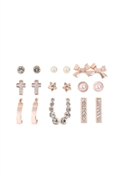 S22-6-1-MYE1168RG - 9 PAIRS ASSORTED CRAWLER RHINESTONE PEARL DAINTY EARRINGS - ROSE GOLD/6PCS