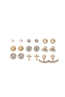 S22-6-2-MYE1169G - 9 PAIRS ASSORTED CROSS DAINTY EARRINGS - GOLD /6PCS