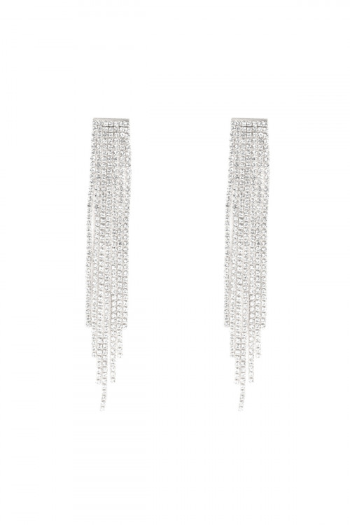 A3-1-2-AMYE1175R SILVER CUBIC ZIRCONIA TASSEL EARRINGS/6PAIRS