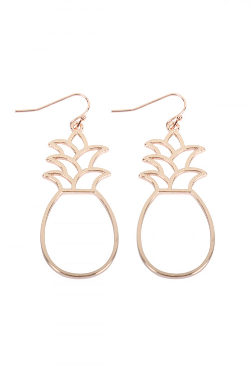 A2-2-3-AMYE1186G GOLD PINEAPPLE OPEN WIRE HOOK DANGLING EARRINGS/6PAIRS