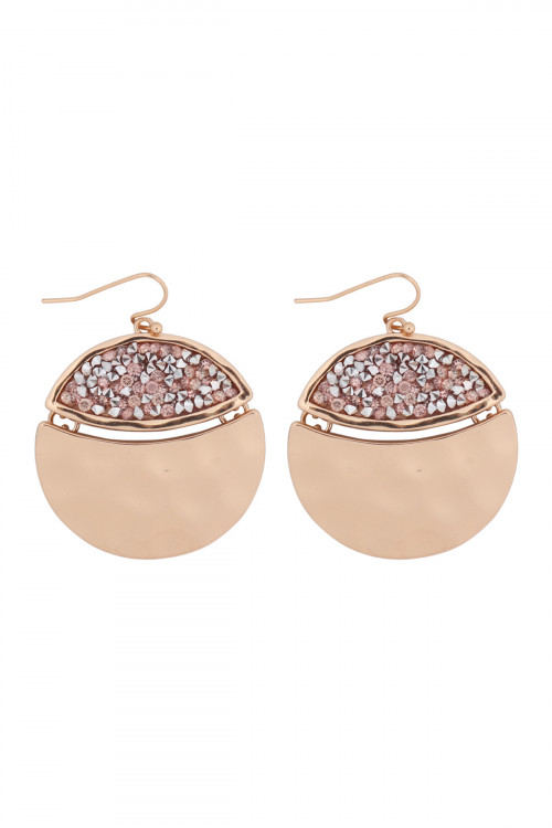 A2-3-5-AMYE1193G GOLD PEACH FACETED GLITTERY ROUND DANGLE HOOK EARRINGS/6PAIRS